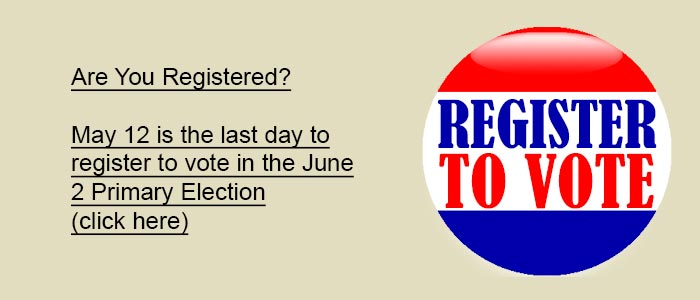 Last day to register to vote is May 12